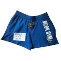 Modré šortky s nápisem velikost M